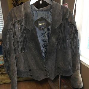Distressed vintage suede fringe jacket